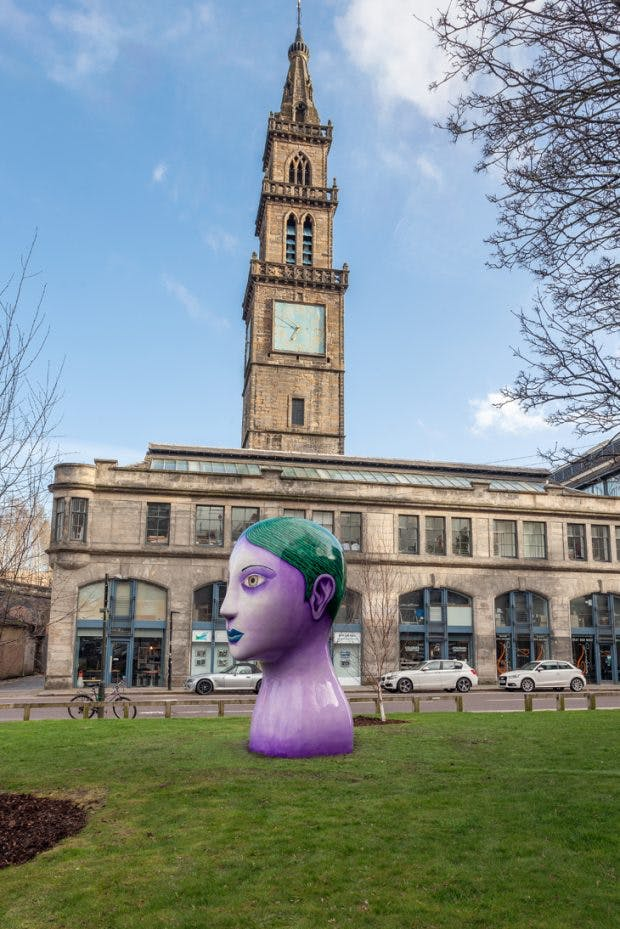 Installation view of Head (2018) by Nicolas Party at The Modern Institute, part of Glasgow International 2018. Photo: Patrick Jameson; courtesy the artist and The Modern Institute/Toby Webster Ltd, Glasgow