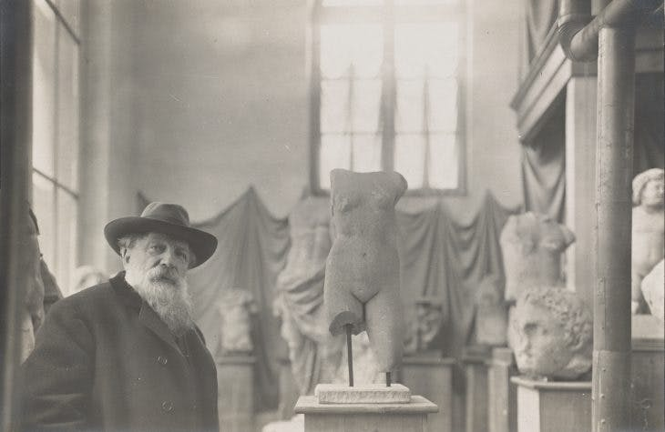 Auguste Rodin photographed in his Museum of Antiquities, c. 1908–12, by Albert Harlingue, courtesy British Museum, London