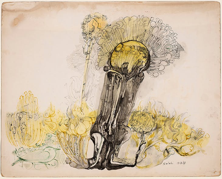 Untitled (Yellow Tree) (1977), Ibrahim El-Salahi. Modern Forms.
