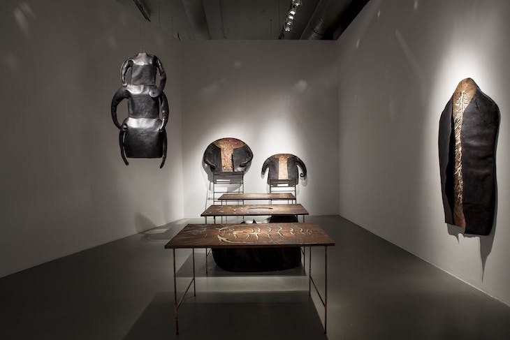 Installation view of Skinless (1996) by Inci Eviner, included in 'In Pursuit of the Present' at Istanbul Modern