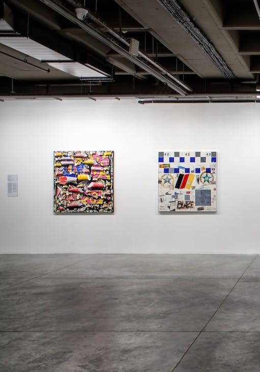 Installation view of two works by Burhan Doğançay, included in 'In Pursuit of the Present' at Istanbul Modern.