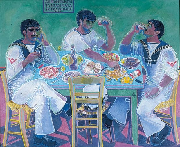 Still Life with Three Sailors, , 1980–85, John Craxton, Private collection, © 2018 Craxton Estate/DACS