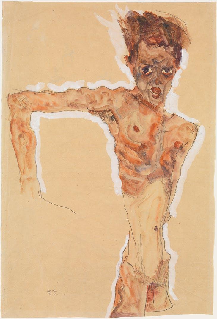 Self-portrait, Schiele