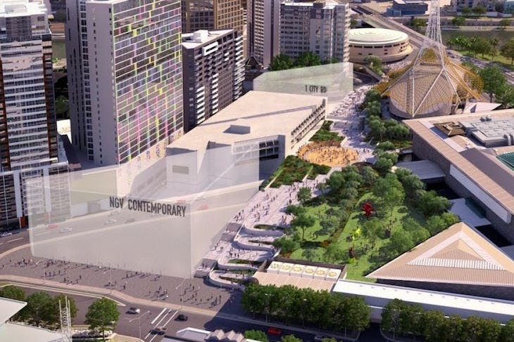 A rendering of the planned NGV Contemporary building located in the Melbourne Arts Precinct.