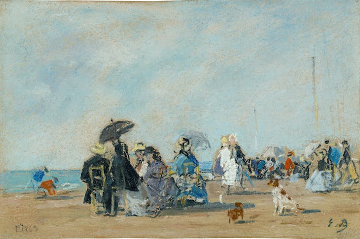 On the Beach at Trouville, Eugène Boudin
