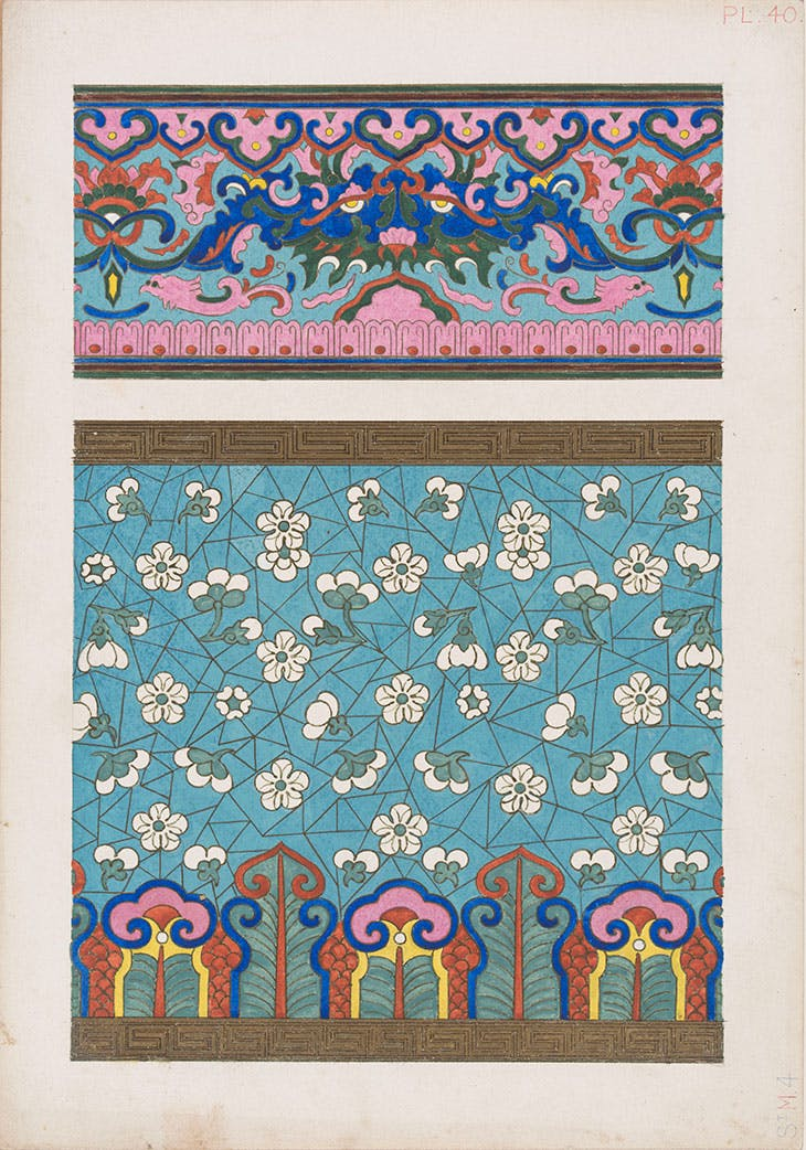 Design based on a cloisonné enamel vases, for Plate 40 in 'Examples of Chinese Ornament selected from objects in the South Kensington museum and other collections' (1867) (c. 1866), Owen Jones