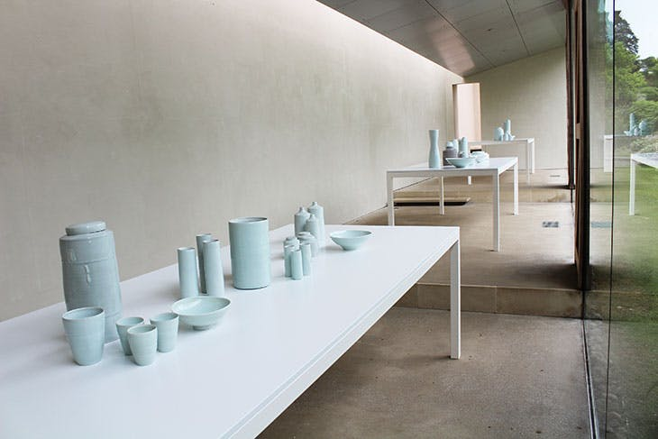 Installation view of 'Edmund de Waal: Early work – vessels from the Rosenheimer Collection' at the New Art Centre, Roche Court, Wiltshire, 2018.