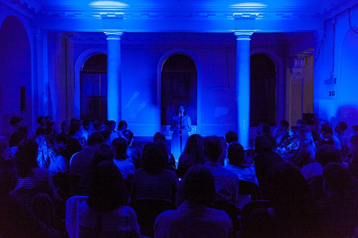 Reading (2018), Hanne Lippard. Performance at Somerset House, Lancaster Room, May 2018.