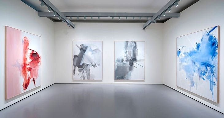 Installation view of (from left to right) h.a.t. II, h.a.t. III, h.a.t. IV, h.a.t. V (all 2009), Albert Oehlen, in 'Albert Oehlen: Cows by the Water' at the Palazzo Grassi, Venice, 2018. Pinault Collection
