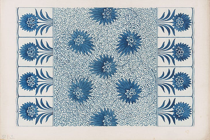 Design by Owen Jones, based on a ceramic dish, an alternative design for Plate 7 in 'Examples of Chinese Ornament selected from objects in the South Kensington museum and other collections' (1867)