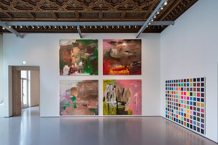 Installation view of 'Albert Oehlen: Cows by the Water' at the Palazzo Grassi, Venice, 2018. Pinault Collection