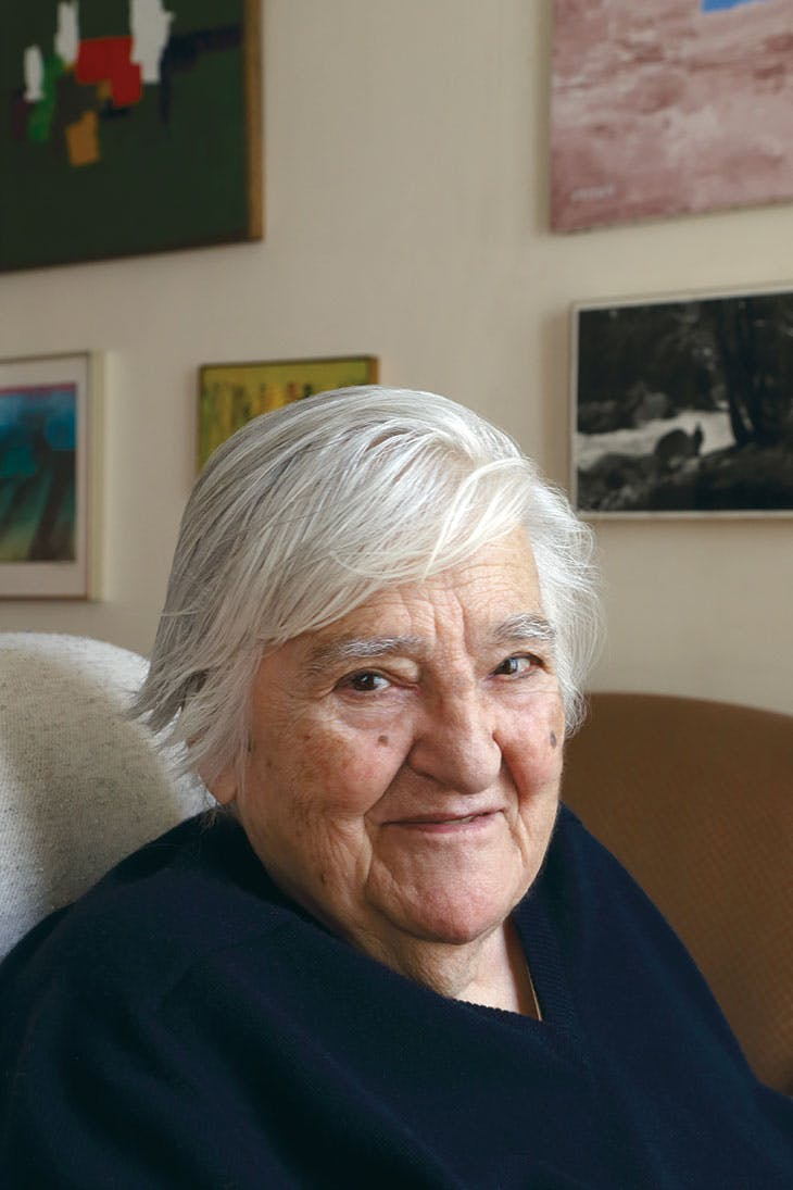 Etel Adnan, photographed at home in Paris, April 2018.