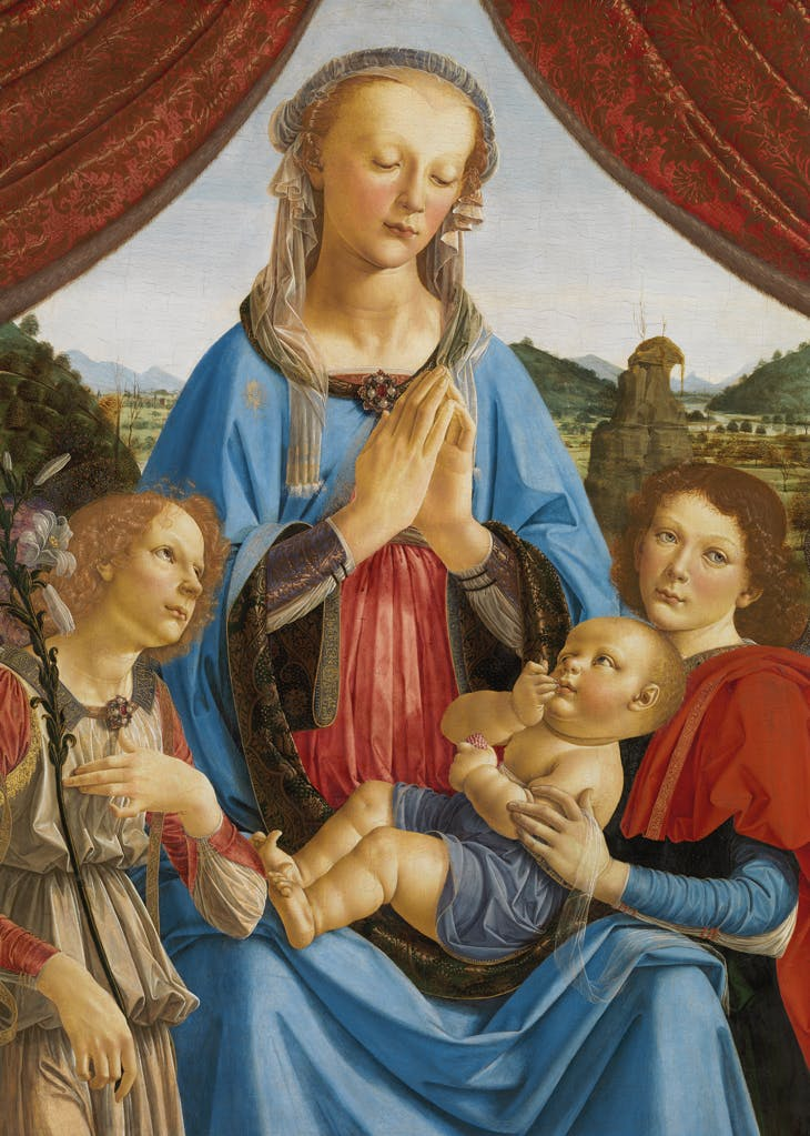 The Virgin and Child with Two Angels, Andrea del Verrocchio and Leonardo da Vinci