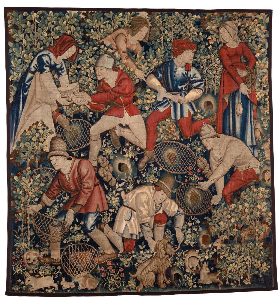 Peasants Preparing to Hunt Rabbits with Ferrets, (c. 1470–90), Southern Netherlands, Brussels (?), Burrell Collection, Glasgow