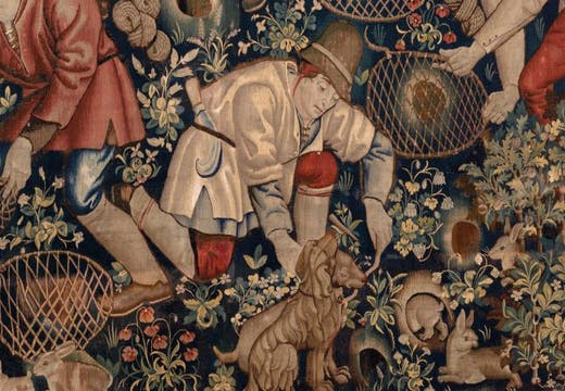 Peasants Preparing to Hunt Rabbits with Ferrets, (detail) (c. 1470–90), Southern Netherlands, Brussels (?). Burrell Collection, Glasgow