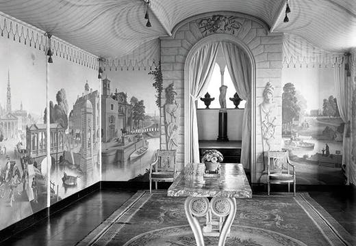 The view into the Painted Room at Port Lympne, Kent, with murals by Rex Whistler, photographed in 1933.view into the Painted Room at Port Lympne, Kent, with murals by Rex Whistlerinto the Painted Room at Port Lympne (photo 1933), Rex Whistler.