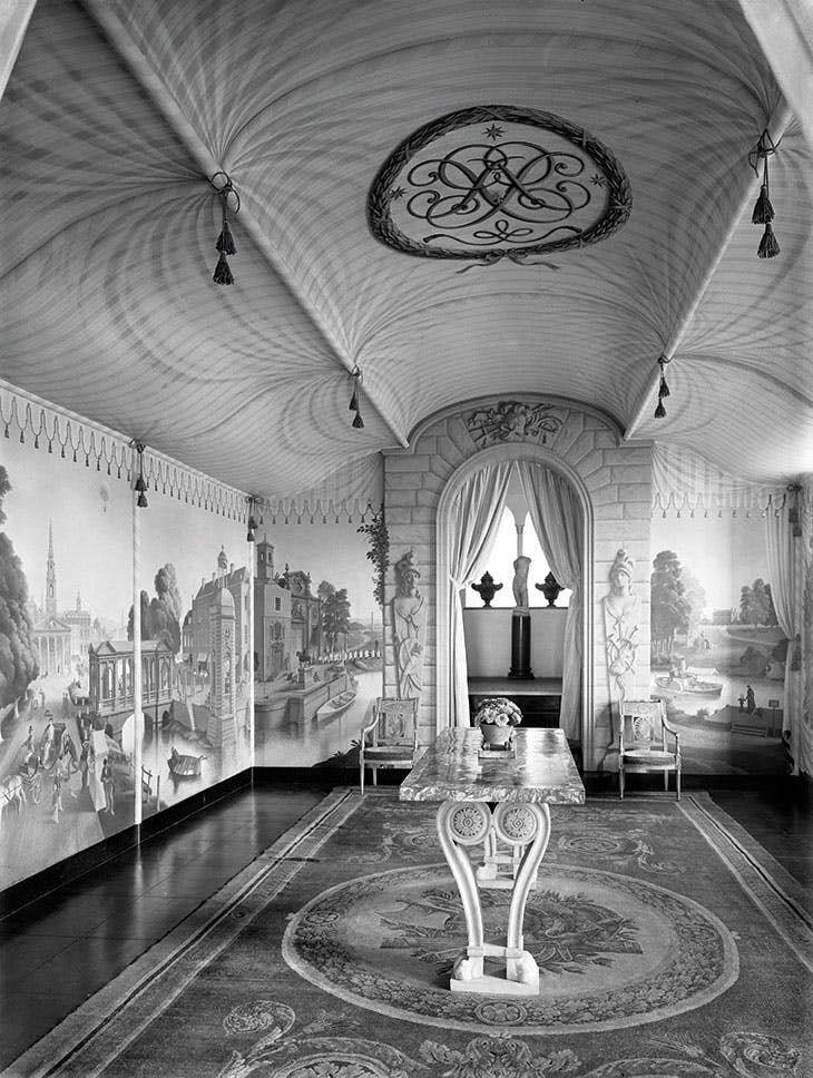 View into the painted Room at Port Lympne, Kent (photo 1933), Rex Whistle.