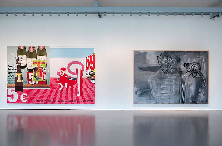 Installation view of (left to right) I 33 (2013) and Titankatze mit Versuchstier (1999), in 'Albert Oehlen: Cows by the Water' at the Palazzo Grassi, Venice, 2018.