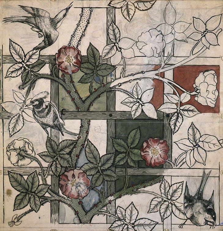 Design for Trellis wallpaper, William Morris and Philip Webb