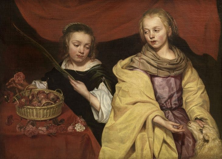 Portrait of Two Girls as the Saints Agnes and Dorothy, (n.d.) Michaelina Wautier. Royal Museum of Fine Arts, Antwerp.