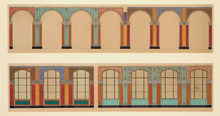 Designs for the arcade decoration of the V&A's Oriental Courts (1863–64), Owen Jones.