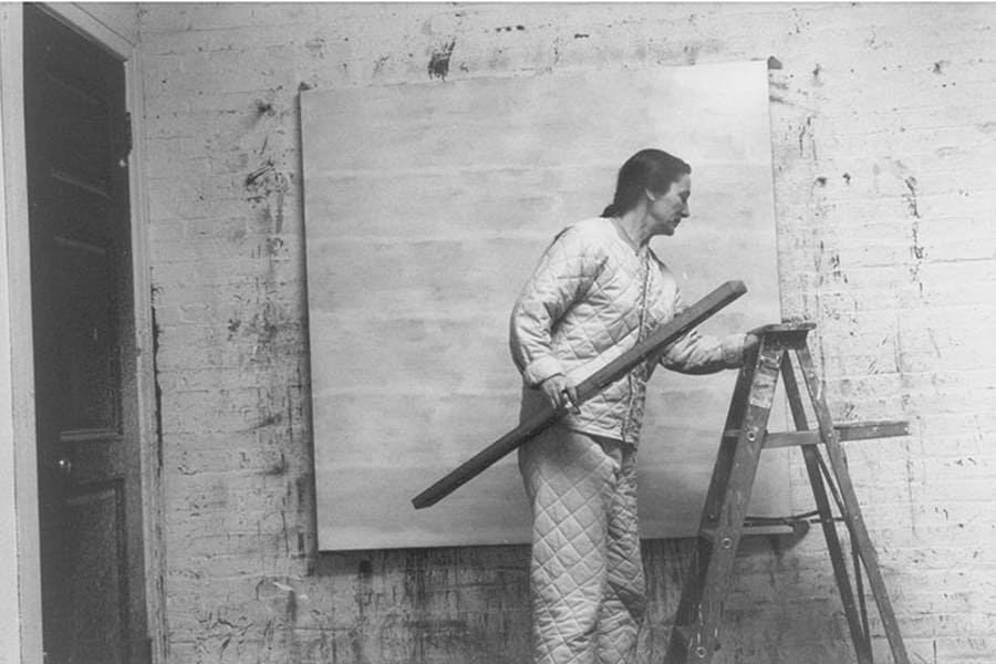 Agnes Martin photographed in her studio in 1960 by Alexander Liberman. Alexander Liberman Photography Archive, The Getty Research Institute, Los Angeles