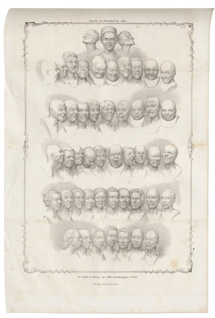 Messerschimdt's Character Heads, in a lithograph of 1839 by Matthias Rudolph Toma.