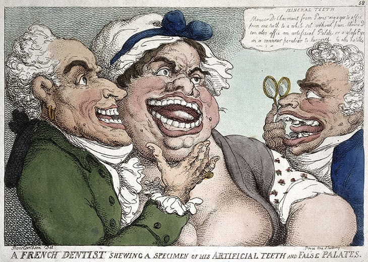 A French dentist showing a specimen of his artificial teeth and false palates (1811), Thomas Rowlandson. Wellcome Collection
