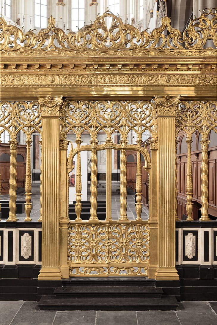 Part of a brass choir screen at De Nieuwe Kerke, Amsterdam, cast by unknown brass-founders in c. 1654, after a design by Johannes Lutma, probably in collaboration with Jacob van Campen (1595–1657)