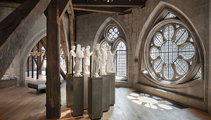 Maquettes for the modern martyrs above the Great West Door of Westminster Abbey, displayed in the Queen's Diamond Jubilee Galleries.