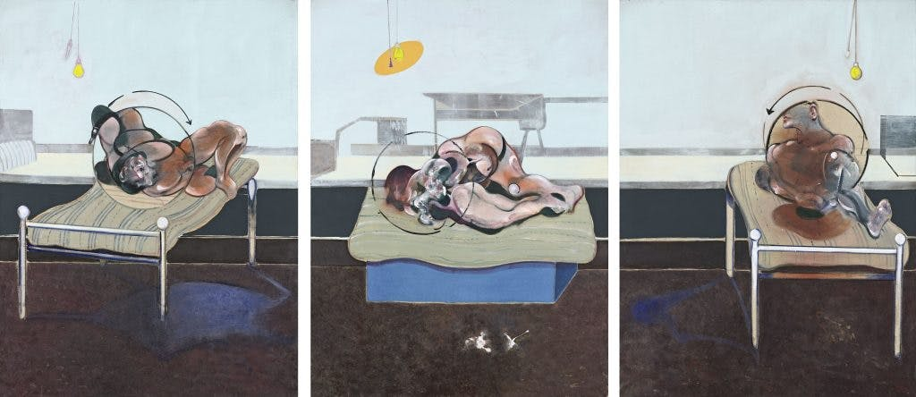 Three Studies of Figures of Beds, (1972), Francis Bacon. Esther Grether Family Collection. Photo: Robert Bayer; © The Estate of Francis Bacon. All rights reserved/2018, ProLitteris, Zurich