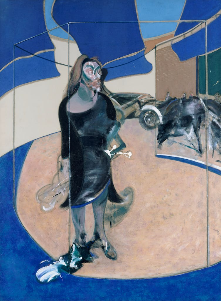Isabel Rawsthorne Standing in a Street in Soho, (1967), Francis Bacon, Staatliche Museen zu Berlin, Nationalgalerie.