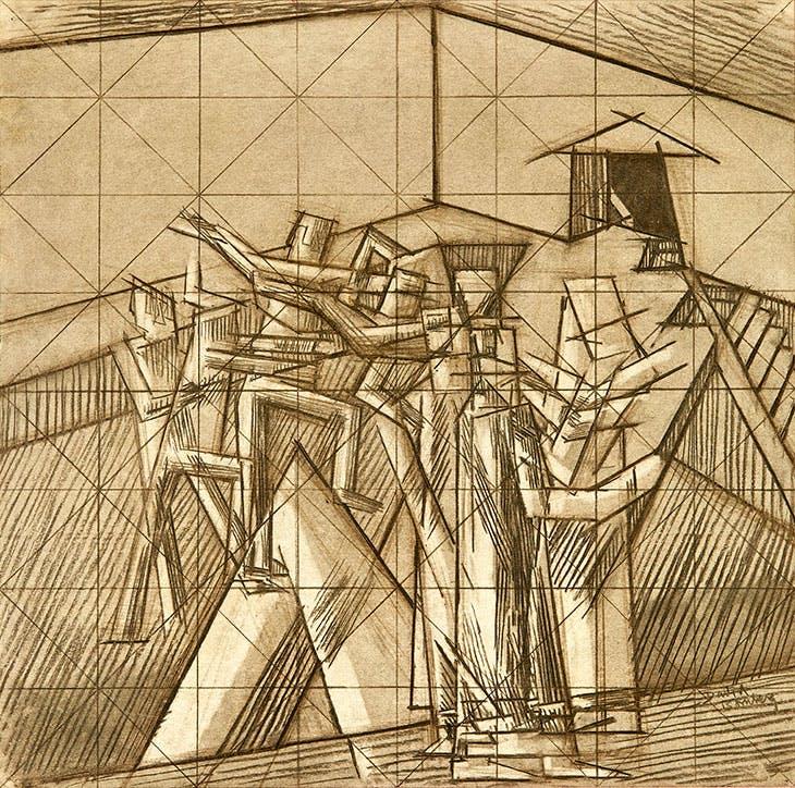 Study for Ju-Jitsu (1913), David Bomberg.