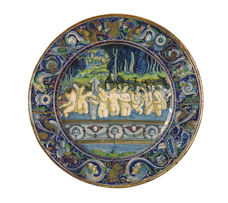 Dish depicting women bathing (1525), workshop of Maestro Giorgio Andreoli, central scene attr. to Francesco Xanto Avelli da Rovigo