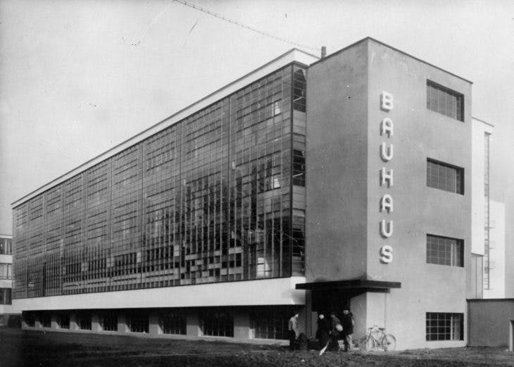 Exterior of the Bauhaus school of applied at Dessau, designed by Walter Gropius in 1926, photo by General Photographic Agency/Getty Images