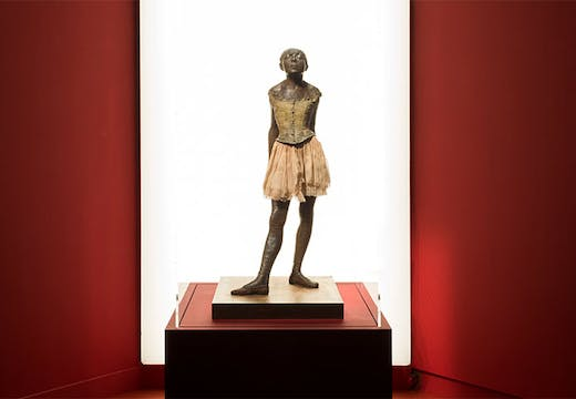 Petite danseuse de quatorze ans (1881; cast in 1921–31), Edgar Degas. Installation view of 'In Colour: Polychrome Sculpture in France 1850–1910' at the Musée d'Orsay, Paris.