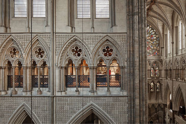 View of the Queen's Diamond Jubilee Galleries, located in the triforium at Westminster Abbey, London.