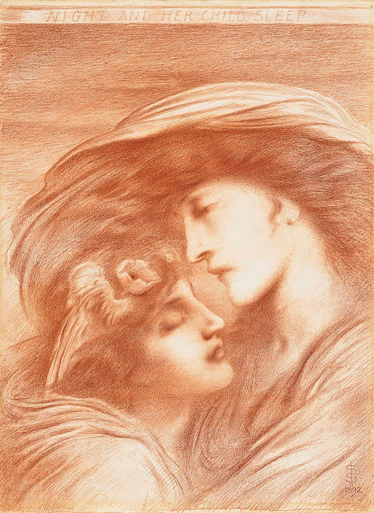 Night and her child Sleep (1893), Simeon Solomon.