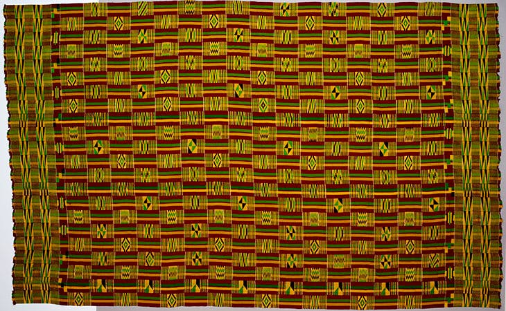Man's kente (Oyokoman pattern) (c. 1920–30), Ghana, Asante peoples