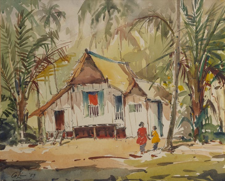 Untitled (Kampong House with Two Figures), Lim Cheng Hoe