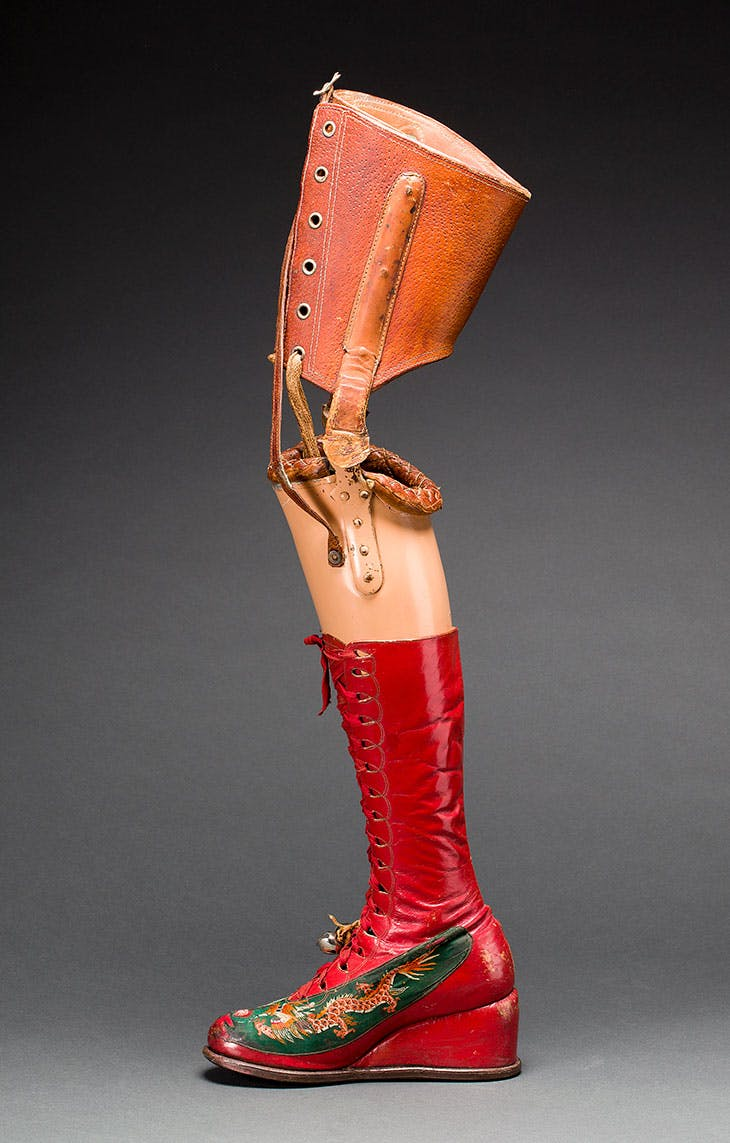 Prosthetic leg with leather boot