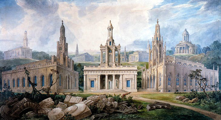 A Group of Churches, designed by Sir J. Soane to illustrate different Styles of Architecture Holy Trinity, Marylebone, St Peter's, Walworth and the chapel at Tyringham, Buckinghamshire) (detail; c. 1825), Joseph Michael Gandy.