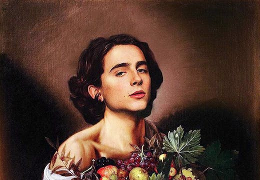 Shiny Tim: Chalamet with a fruit basket