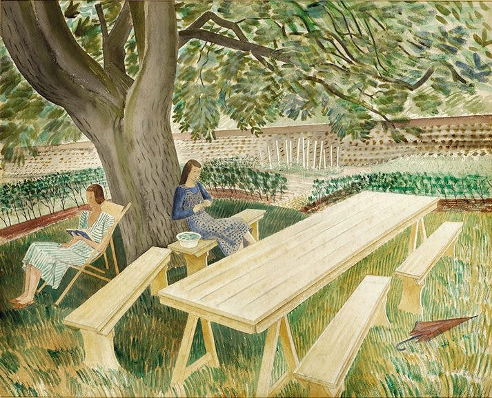 Two Women in a Garden (1933), Eric Ravilious. Fry Art Gallery