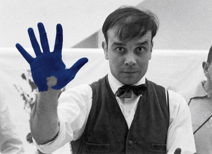 "Portrait of Yves Klein during the shooting of the documentary of Peter Morley ""The Heartbeat of France""."