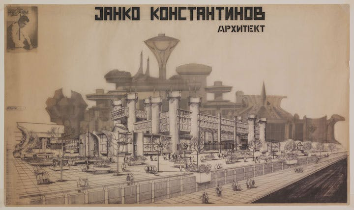 Exhibition poster for the retrospective of architect Janko Konstantinov, 1984. Personal archive of Jovan Ivanovski