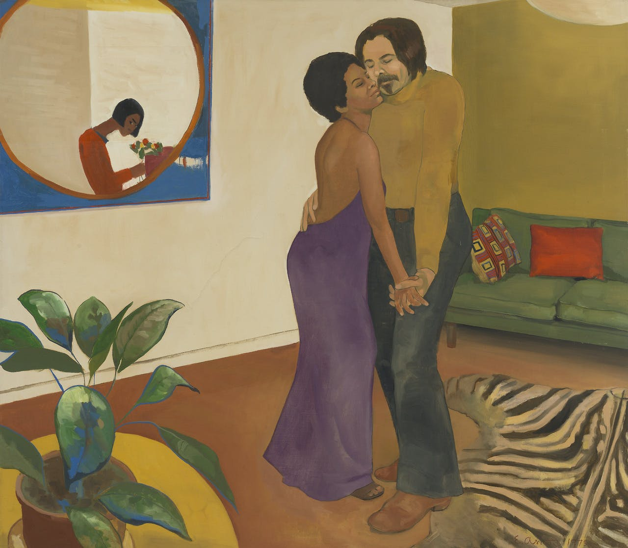 Sandy and Her Husband (1973), Emma Amos. Cleveland Museum of Art