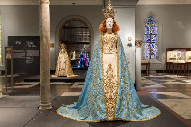 Installation view of 'Heavenly Bodies: Fashion and the Catholic Imagination' at the Metropolitan Museum of Art, photo: © The Metropolitan Museum of Art, New York