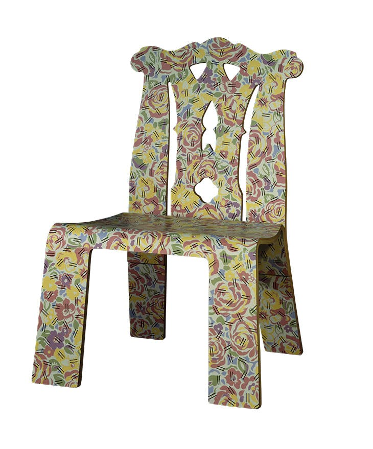 Chippendale chair with Grandmother pattern (1984), Robert Venturi and Denise Scott Brown, manufactured by Knoll International, New York.
