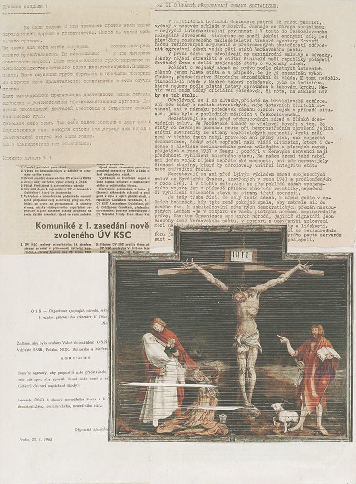 '34e – INRI', from the cycle Diary 1968 (1968), Jiří Kolář.
